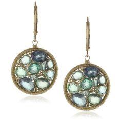 """Dana Kellin """"Emerald Mix"""" Mosaic Circle Drop Earrings"""