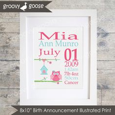 Illustrated Birth Announcement Print HILDA HOOT OWL / Kids Room Decor/ Kids Wall Art / Nursery Wall Art / Personalised Prints by groovygoose on Etsy