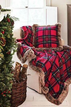 30 Best And Classic Collection Of Plaid Christmas Decor : Awesome black and red check black with matching pillow cover. Tartan Christmas, Cozy Christmas, Country Christmas, Christmas Holidays, Classy Christmas, Outdoor Christmas, Homemade Christmas, Christmas Trees, Cabin Christmas Decor