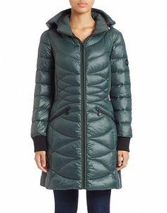 """<ul> <li>Cozy-chic, hooded puffer silhouette</li> <li>Attached hood</li> <li>Stand collar</li> <li>Long sleeves with ribbed knit cuffs</li> <li>Zip front</li> <li>Zip pockets</li> <li>Lined </li> <li>About 33"""" from shoulder to hem</li> <li>Wool/polyester/acrylic/other fibers </li> <li>Fill: Polyester</li> <li>Dry clean</li> <li>Imported</li> </ul>"""