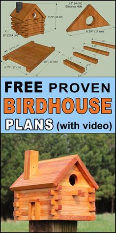 FREE bird house plans to make a LOG-CABIN shaped nesting box. COMPLETE instructions to create a wooden bird box for bluebirds, wrens . Wooden Bird Feeders, Wooden Bird Houses, Bird Houses Diy, Building Bird Houses, Dog Houses, Wooden House, Bird Feeder Plans, Bird House Feeder, Diy Bird Feeder