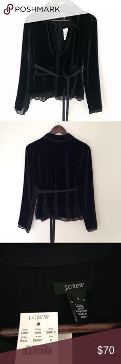 "J. Crew Ruby Jacket NWT velvet jacket by J. Crew. Length 23"", bust 29.5"", sleeve 24"". She'll 82% rayon, 18% silk. Lining 100% polyester. J. Crew Tops"