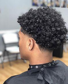 Afro Fade Haircut, Boys Haircuts Curly Hair, Temp Fade Haircut, Waves Haircut, Taper Fade Haircut, Taper Fade Curly Hair, Tapered Hair, Curly Hair Cuts, Short Curly Hair
