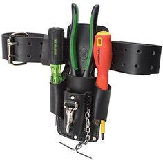 "Greenlee Leather Pouch Heavy Duty 4-Pocket Storage Tool Access Fit Belt 3"" Wide  #Greenlee"