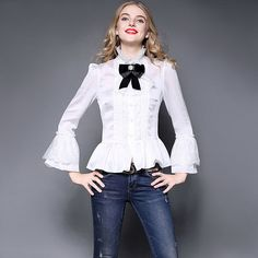 Luxury Silk Women's Shirts 2017 Spring Sexy Lace Retro Blouses bow ...