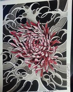 Designs For Garden Flower Beds Japanese Tattoo Designs, Japanese Sleeve Tattoos, Sleeve Tattoos For Women, Flower Tattoo Designs, Flower Tattoos, Tattoo Japanese, Japanese Art, Flor Oriental Tattoo, Crisantemo Tattoo