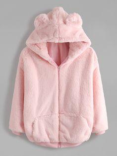 Shop Pink Bear Ear Hooded Zipper Up Shaggy Coat online. SheIn offers Pink Bear E… Shop Pink Bear Ear Hooded Zipper Up Shaggy Coat online. SheIn offers Pink Bear Ear Hooded Zipper Up Shaggy Coat & more to fit your fashionable needs. Harajuku Mode, Harajuku Fashion, Kawaii Fashion, Cute Fashion, Pink Outfits, Mode Outfits, Fashion Outfits, Hoodie Sweatshirts, Hoodies