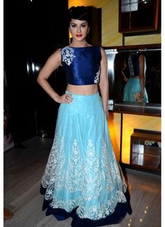 Khantil Sunny Leone Dark Blue & Sky Blue Net Designer Indo Western #Lehenga…