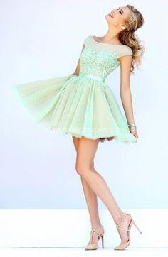 2015 Sherri Hill Short Beaded Lace Prom Dresses 11267 Green/Nude
