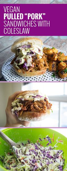 "Vegan Jackfruit Pulled ""Pork"" Sandwiches with Coleslaw – a delicious meat-free lunch or dinner! As a former meat eater who loved pulled pork, when Dave discovered jackfruit as an alternative, he couldn't wait to try it. // rootiful.com #vegan"
