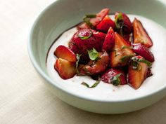 Balsamic Strawberries with Ricotta Cream Recipe : Ellie Krieger : Recipes : Food Network Strawberry Desserts, Summer Desserts, Summer Recipes, Strawberry Balsamic, Light Desserts, Summer Drinks, Holiday Recipes, Funnel Cakes, Food Network Recipes