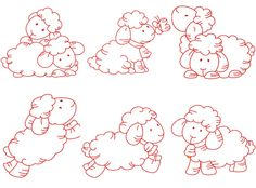 6 sheep Embroidery Designs