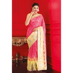 Pink and Yellow Georgette Wedding #Saree With Blouse- $173.08