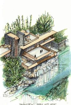 Gallery of Classic Architecture Icons represented in axonometric view. - Gallery of Classic Architecture Icons represented in axonometric view – 9 – # axo - Sketchbook Architecture, Croquis Architecture, Art Et Architecture, Classic Architecture, Falling Water Architecture, Organic Architecture, Futuristic Architecture, Contemporary Architecture, Axonometric View