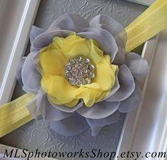 Light Yellow & Grey Flower Headband - Baby Girl Gray Flower Blossom Headband with Light Lemon Yellow Accents - Grey Baby Hair Bow