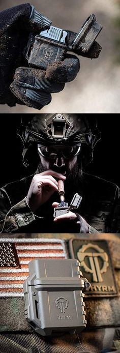 PyroVault Lighter Armor. PyroVault Lighter Armor Housing accepts standard Zippo-style lighter inserts including both fluid and butane torch models. Perfect for EDC Everyday Carry. Survival Gadgets, Survival Tools, Tactical Life, Tactical Gear, Military Gear, Military Equipment, Hidden Gun Storage, Mens Toys, Tac Gear
