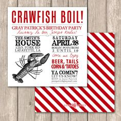 Items similar to Cajun Crawfish Boil Invitations--Unique Crawfish Boil, clambake or low country boil invitations on Etsy Crab Boil Party, Lobster Party, Crawfish Party, Crawfish Season, Lobster Boil, Seafood Party, Cajun Boil, Cajun Crawfish, Seafood Boil