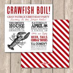 Cajun Crawfish Boil Invitations--Unique Crawfish Boil, clambake or low country boil invitations on Etsy, $1.75