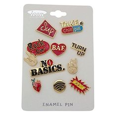 Rosemarie Collections Urban Dictionary Hipster Brooch Pin Set