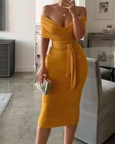 Solid Yellow Off Shoulder Wrap Dress Women Ruched Designed Sashes Midi Dress Slim Fit Sexy Party Dresses Robe Femme, Yellow / XL Elegant Dresses, Cute Dresses, Casual Dresses, Maxi Dresses, Summer Dresses, Formal Dresses, Wedding Dresses, Awesome Dresses, Wrap Dresses