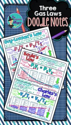 Give your student's a break from traditional notes and have them actively engaged! These doodle notes encourage students to use creativity and both hemispheres of their brain.   This is a two-part graphic organizer in which students can create a visual representation of the three fundamental gas laws. I have also included an example math problem for Boyle's Law, Charles' Law, and Guy-Lassac's Law and a practice problem.