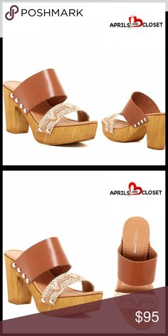 """CHARLES DAVID LEATHER PLATFORM SANDALS CHARLES DAVID LEATHER PLATFORM SANDALS   SIZING- True to size  COLOR- Natural, multi brown Made in Italy * Amazing style!  * Open toe * Bohemian metallic stitched vamp w/zigzag design & stud accents  * Gladiator style upper leather strap * Faux wood chunky heel & platform  * High quality & well made; Padded footbed  * Chunky high heel, approx 3.75"""" & 1.5"""" platform  MATERIAL Leather & manmade upper, manmade sole  ❌NO TRADES❌ ✅BUNDLE DISCOUNTS ✅ OFFERS…"""