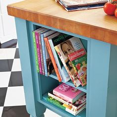 Open shelves help tap every cubic inch of a butcher-block kitchen island | Photo: Mark Lohman