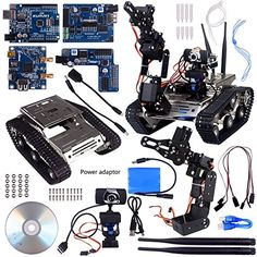 A description of Kuman Wireless Wifi manipulator Robot Car Kit With Video tutorial for Arduino,utility Vehicle Intelligent Robotics, Hd Camera Ds Robot Smart Educational Kits by iOS android PC controlled Robotics Projects, Arduino Projects, Robot Builder, Arduino Controller, Wifi, Military Robot, Learn Robotics, Mobile Robot, Drones