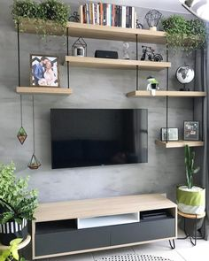 135 perfekt strukturierte Wände – Gestaltungsideen für Ihr Wohnzimmer – Seite … 135 murs parfaitement structurés – idées de design pour v… - Dinnerrecipeshealthy sites Living Room Interior, Home Living Room, Living Room Designs, Tv On Wall Ideas Living Room, Living Room Shelves, Living Walls, Diy Living Wall, Bedroom Wall Shelves, Living Room Decor Tv