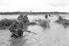 Soldiers of 2RAR/NZ (ANZAC) cross the deeper water of a rice paddy, 1967.