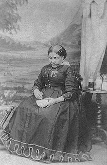 """The only known photograph of Mary Seacole (1805-1881), who was a Jamaican nurse in the Crimean war.  She traveled to the Crimean despite discrimination from the War Office (for being a woman) and Florence Nightingale (for being black).  She saved many lives on both sides of conflicts, tending the wounded on the battlefield, under fire.  """"...being dark, [she] could scarce be seen for the flame of Florence's candle"""" (Salman Rushdie)."""