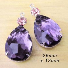 Amethyst rhinestone teardrops paired with tiny pink stones (you choose the color!) - $4.79/pair in brass or silver settings