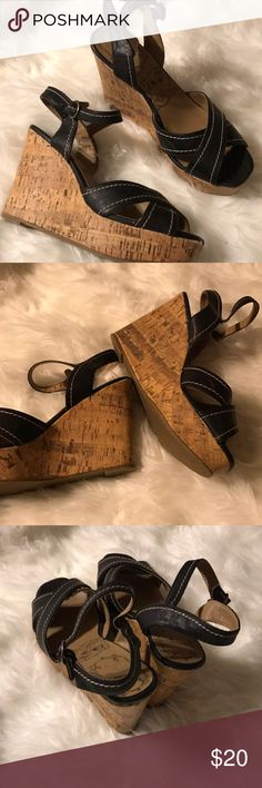 Black cork wedge sandals Black strappy sandals. Buckle at ankle. Size 8.5. 4 inch wedge. jellypop Shoes Wedges