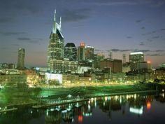 City Skyline and Cumberland River at Dusk, Riverfront Park, Nashville, Tennessee, USA Photographic Print by Gavin Hellier at Art.com