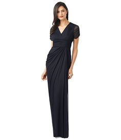 Adrianna Papell Ruched Short-Sleeve Draped Gown | Dillards.com