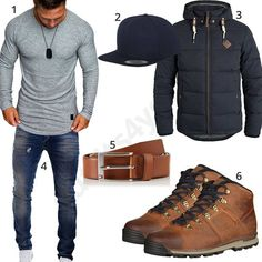 Herren-Outfit mit Timberland Boots und Snapback Cap (m0653) #stiefel #longsleeve #solid #cap #ledergürtel #outfit #style #fashion #menswear #herren #männer #shirt #mode #styling #sneaker #menstyle #mensfashion #menswear #inspiration #cloth #clothing #ootd #herrenoutfit #männeroutfit