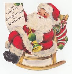 Vintage Greeting Card Christmas Santa Claus Die-Cut Rocking Chair Hallmark