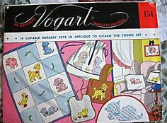 Vogart 154 Nursery Pets for Applique Quilt. A 1950s hand embroidery pattern.