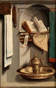 Stilleben mit Büchern und Waschbecken Painter: Anonymous , Southern Netherlands 1470 - 1480 Dimensions:  h. 21 x w. 14 cm