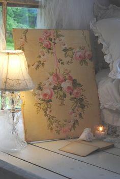 Vintage Rose Brocante...vintage wallpaper covered board,sheet rock,etc.