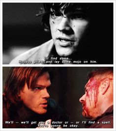 """(gif set) Sam being Protective of Dean     Supernatural 2x01 """"In My Time of Dying"""" and 9x23 """"Do You Believe in Miracles"""""""
