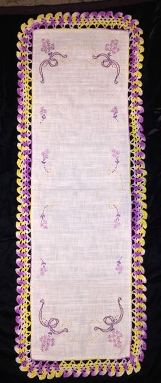 Vintage Dresser Scarf Runner Embroidered Purple Floral Variegated Crocheted Edge
