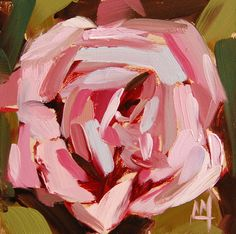 Pink Rose no. 14 original floral oil painting by Angela Moulton 4 x 4 inch on panel pre-order