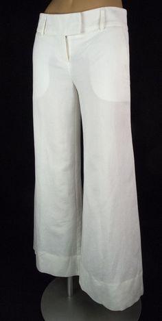 Diane Von Furstenberg Pants Size 0 XS White Casual Flare Linen Cotton DVF #DVF #CasualPants