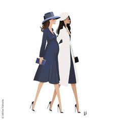 Adrian Valencia is a super talented illustrator who drew this fabulous artwork representing the Duchess of Cambridge and Meghan Markle walking together at Westminster Abbey Posted on March 14, 2018