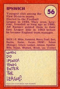1974-75 A&BC Gum #56 Ipswich Town Team Back