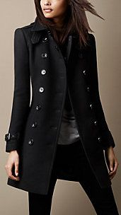 Burberry - Autumn/Winter 2013|  Mid-Length Double Wool Twill Trench Coat
