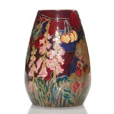 Zsolnay Nabis style vase hand decorated with a lush garden of foxglove and foliage flourishing beneath fruitful cherry trees.
