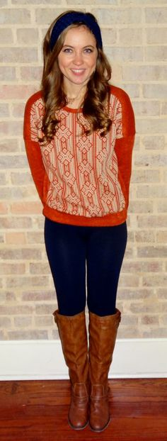 Orange sweater with navy leggings, navy ear warmers and tan boots - Studio 3:19