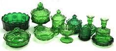 EMERALD GREEN FOSTORIA COIN PATTERN GLASSWARE